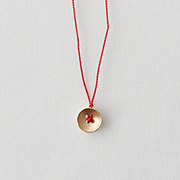 Toile K10YE Button Necklace RED