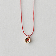 Toile K10YE Shirt Button Necklace RED