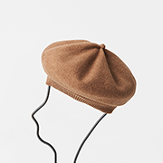 mature ha. beret top gather rib dark camel